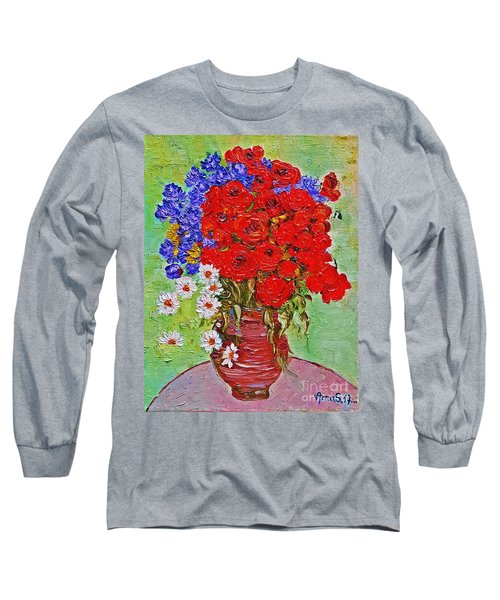 Still Life With Poppies And Blue Flowers Long Sleeve T-Shirt