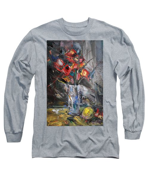 Still Life With Red Flowers And Lemon Long Sleeve T-Shirt