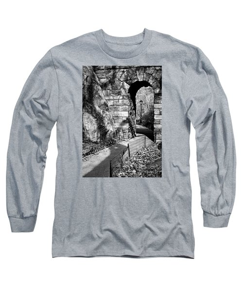 Stone Arch In The Ramble Of Central Park - Bw Long Sleeve T-Shirt by James Aiken