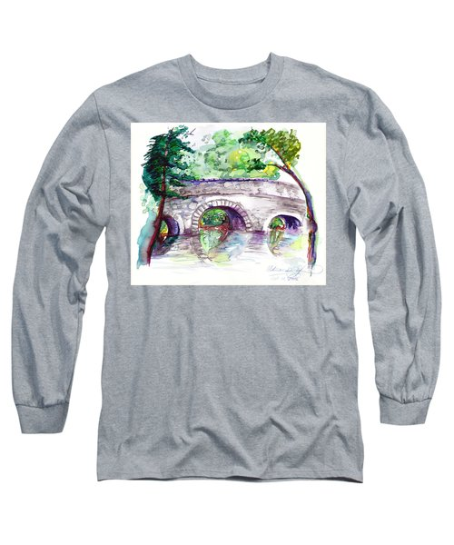 Stone Bridge In Early Autumn Long Sleeve T-Shirt by Melinda Dare Benfield