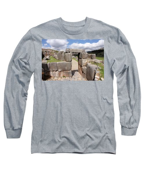 Long Sleeve T-Shirt featuring the photograph Stone Doorway At Sacsaywaman by Aidan Moran