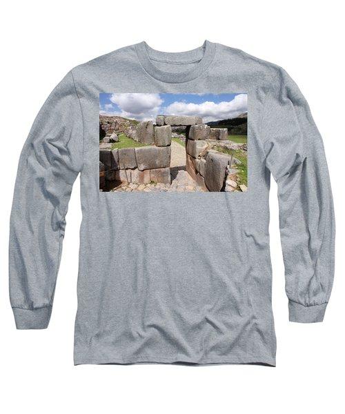 Stone Doorway At Sacsaywaman Long Sleeve T-Shirt by Aidan Moran