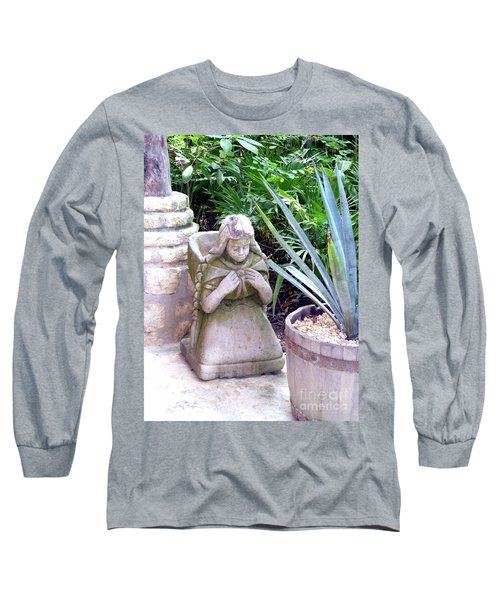 Long Sleeve T-Shirt featuring the photograph Stone Girl With Basket And Plants by Francesca Mackenney