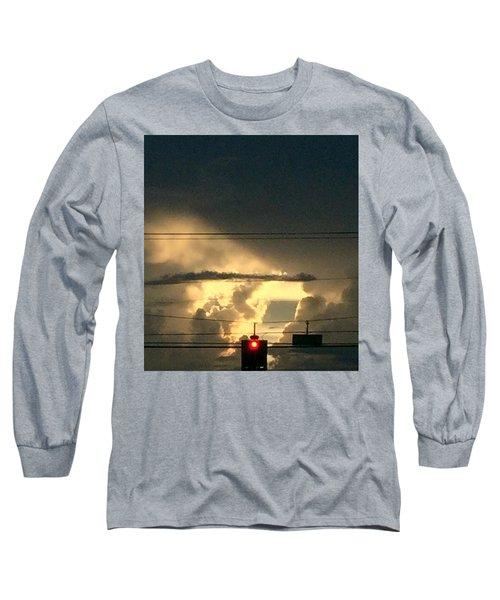Stoplight In The Sky Long Sleeve T-Shirt by Audrey Robillard