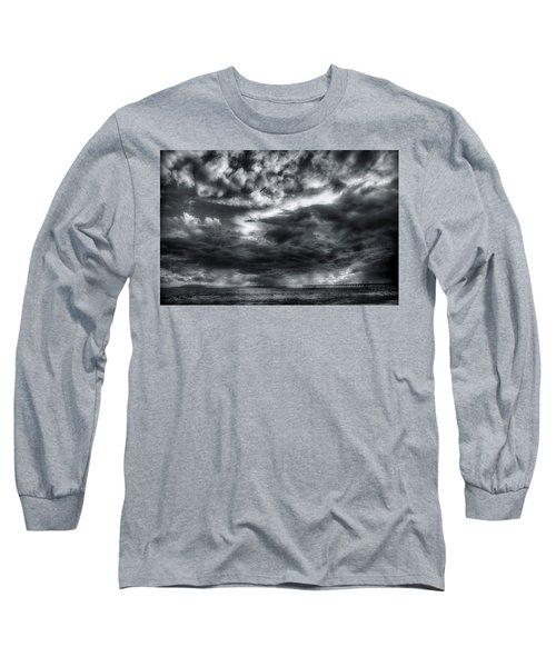 Storm Clouds Ventura Ca Pier Long Sleeve T-Shirt by John A Rodriguez