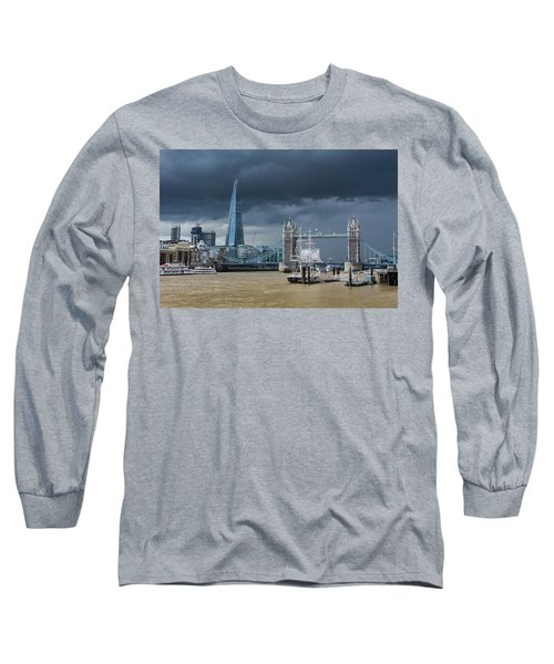 Long Sleeve T-Shirt featuring the photograph Storm Looming Over The Shard And Tower Bridge by Gary Eason