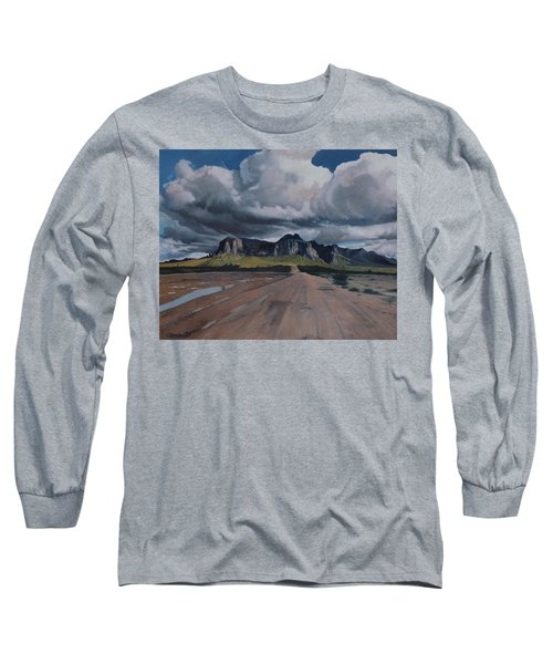 Storm Over The Superstitions Long Sleeve T-Shirt by Barbara Barber