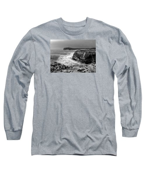 Long Sleeve T-Shirt featuring the photograph stormy sea - Slow waves in a rocky coast black and white photo by pedro cardona by Pedro Cardona