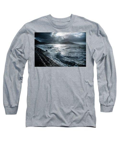 Stormy Seas At Tanybwlch Aberystwyth Long Sleeve T-Shirt