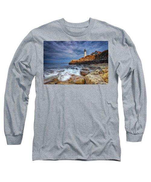 Stormy Skies At Portland Head Long Sleeve T-Shirt by Rick Berk