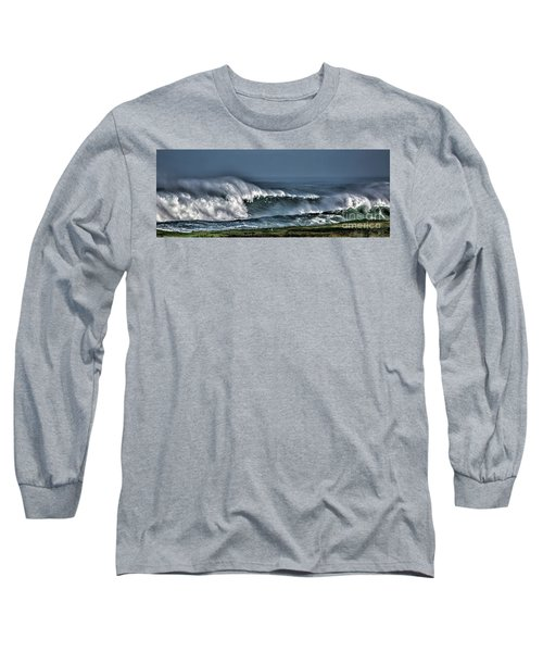 Stormy Winter Waves Long Sleeve T-Shirt by Shirley Mangini