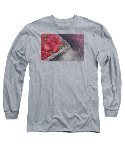 Strawberry Splash Long Sleeve T-Shirt by Pamela Clements