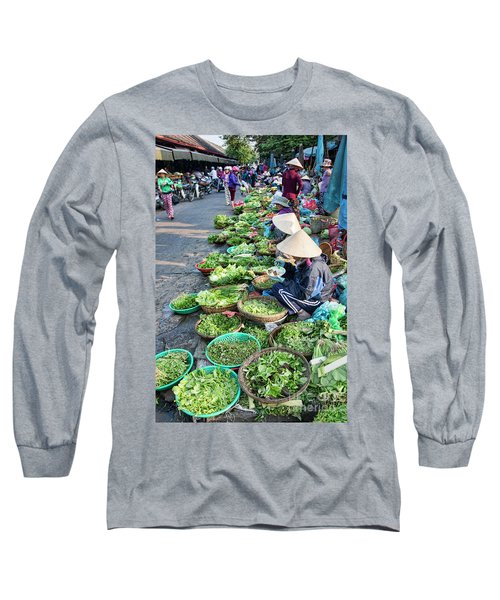 Street Market Hoi An Long Sleeve T-Shirt by Chuck Kuhn