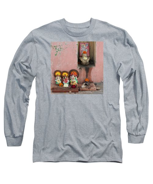 Street Temple, Haridwar Long Sleeve T-Shirt by Jennifer Mazzucco