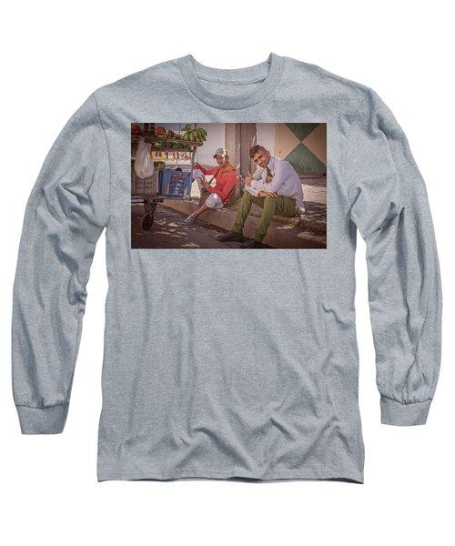 Long Sleeve T-Shirt featuring the photograph Street Vendors In Cienfuegos Cuba by Joan Carroll