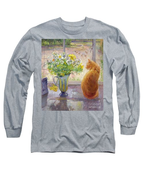 Striped Jug With Spring Flowers Long Sleeve T-Shirt by Timothy Easton