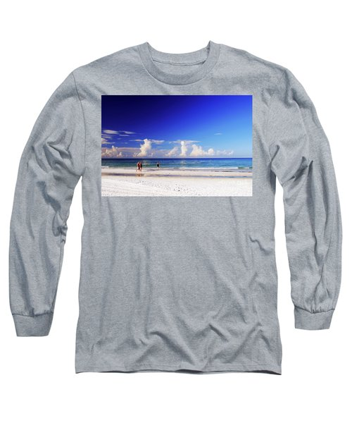 Long Sleeve T-Shirt featuring the photograph Strolling The Beach by Gary Wonning