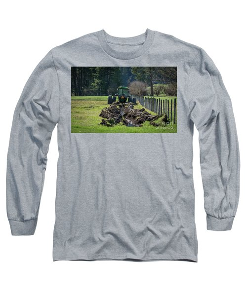 Stuck In The Muck Agriculture Art By Kaylyn Franks Long Sleeve T-Shirt