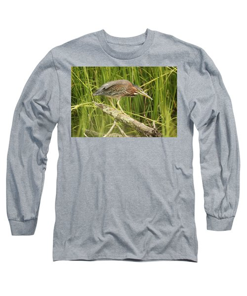 Studious Green Heron Long Sleeve T-Shirt