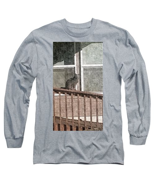 Study Of Lines With Cat Long Sleeve T-Shirt by Karl Reid