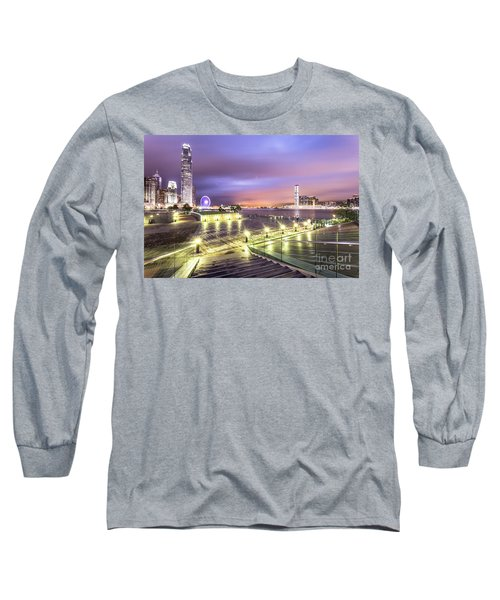 Stunning Night View Of The Famous Hong Kong Island Skyline And V Long Sleeve T-Shirt
