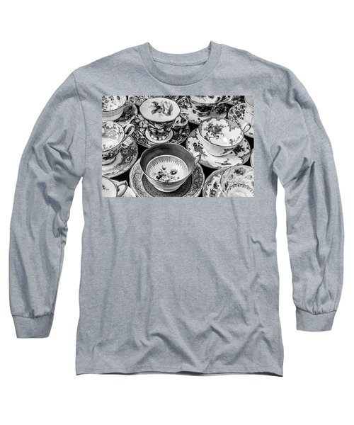 Stunning Tea Cups In Black And White Long Sleeve T-Shirt