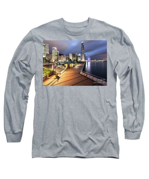 Stunning View Of Hong Kong Central Business District Skyscrapers Long Sleeve T-Shirt