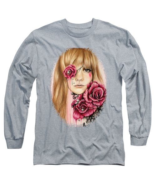 Long Sleeve T-Shirt featuring the drawing Sullenly Sweet  by Sheena Pike
