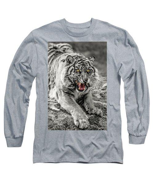 Sumatran Tiger Bw W With Selective Color Long Sleeve T-Shirt