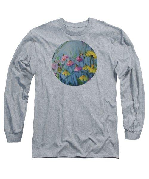 Summer Flower Garden Long Sleeve T-Shirt by Mary Wolf