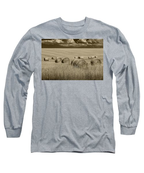 Summer Harvest Field With Hay Bales In Sepia Long Sleeve T-Shirt