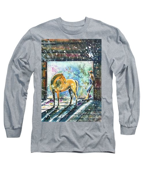 Long Sleeve T-Shirt featuring the painting Summer Morning At The Barn by Zaira Dzhaubaeva