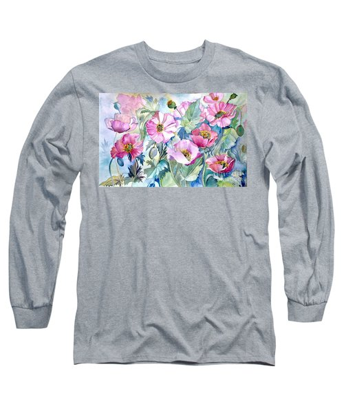 Long Sleeve T-Shirt featuring the painting Summer Poppies by Iya Carson