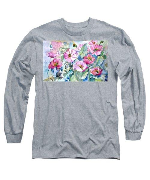 Summer Poppies Long Sleeve T-Shirt by Iya Carson