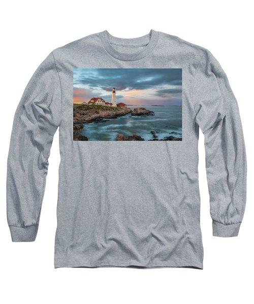 Summer Sunset At Portland Head Light Long Sleeve T-Shirt