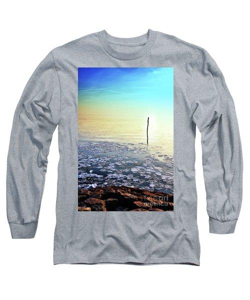 Sun Going Down In Calm Frozen Lake Long Sleeve T-Shirt