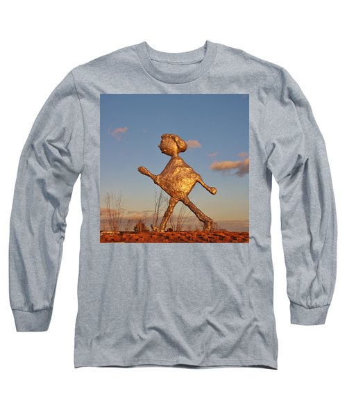 Sun Setting On Walking Figure Long Sleeve T-Shirt
