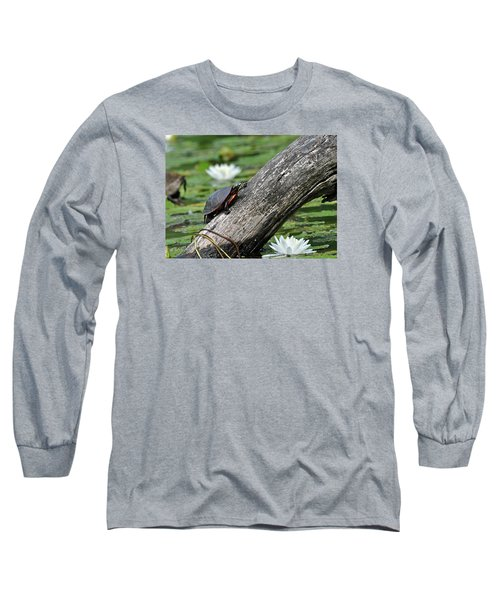 Long Sleeve T-Shirt featuring the photograph Turtle Sunbathing by Glenn Gordon
