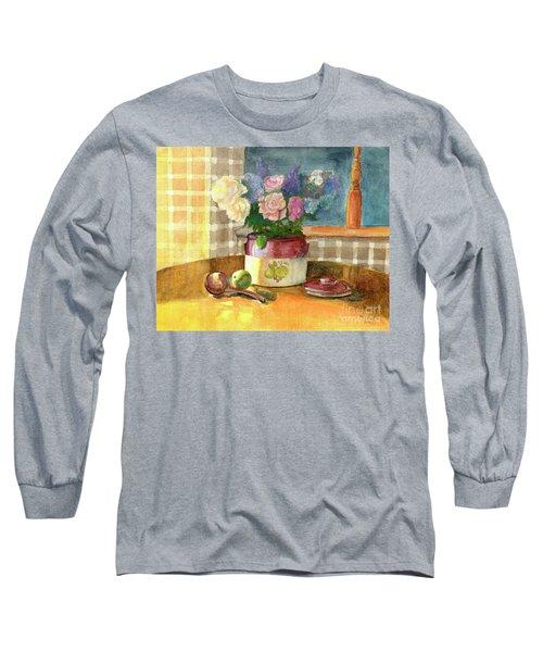 Sunday Morning And Roses-watercolor Long Sleeve T-Shirt