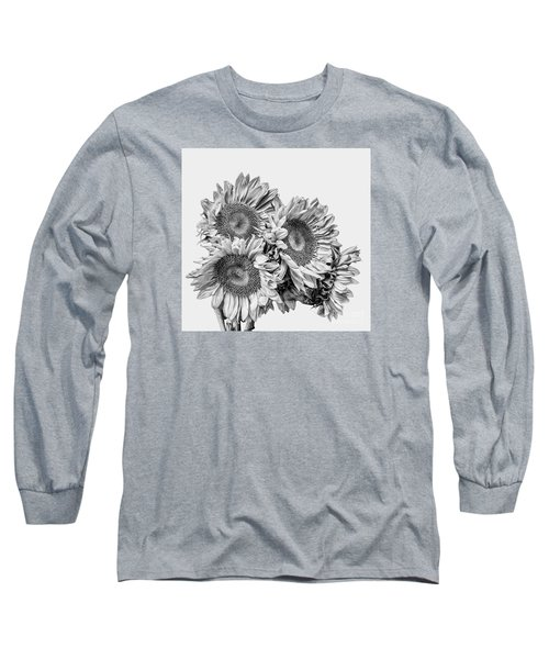 Sunflower Bouquet Bw Long Sleeve T-Shirt