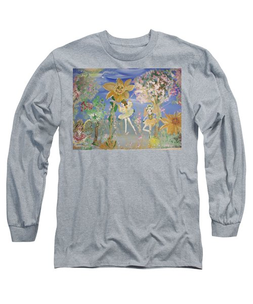 Sunflower Fairies Long Sleeve T-Shirt by Judith Desrosiers