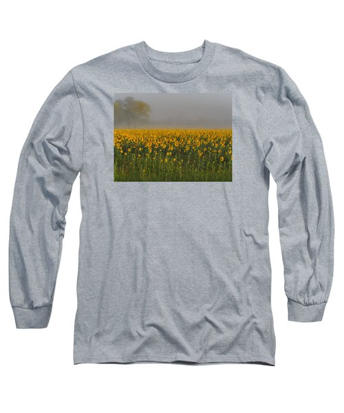 Sunflower Field On A Foggy Morn Long Sleeve T-Shirt