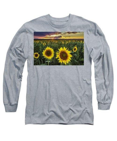 Sunflower Sunset Long Sleeve T-Shirt by Kristal Kraft
