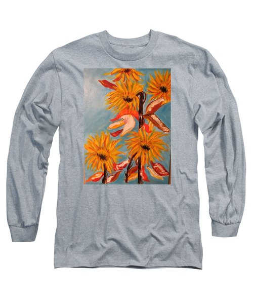 Sunflowers At Harvest Long Sleeve T-Shirt by Sharyn Winters
