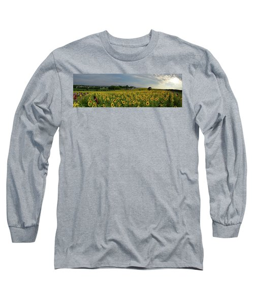 Long Sleeve T-Shirt featuring the photograph Sunflowers, People, And Pictures 2 by Janice Adomeit