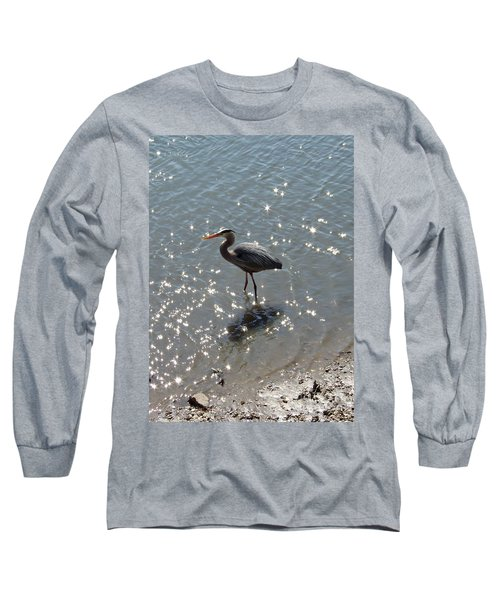 Long Sleeve T-Shirt featuring the photograph Sunlit Heron by Carol  Bradley