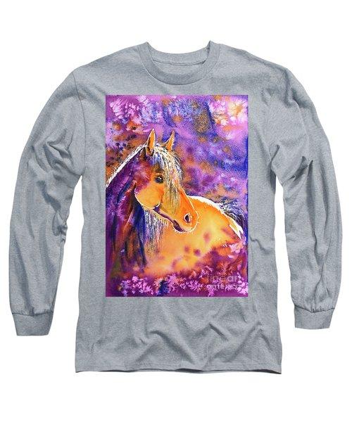Long Sleeve T-Shirt featuring the painting Sunny Mare by Zaira Dzhaubaeva