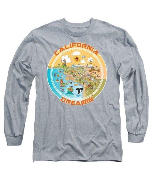 Sunny So Cal Cartoon Map Long Sleeve T-Shirt