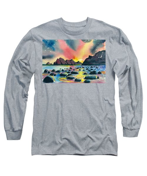 Long Sleeve T-Shirt featuring the painting Sunrise And Water by Terry Banderas