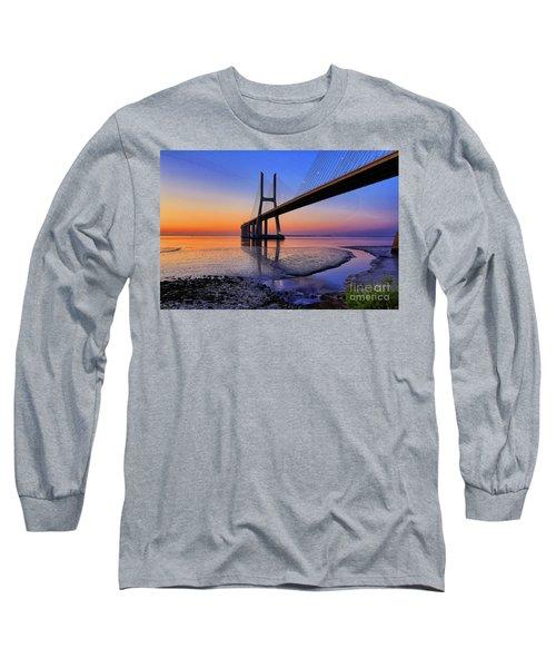 Sunrise At Vasco Da Gama Bridge Long Sleeve T-Shirt